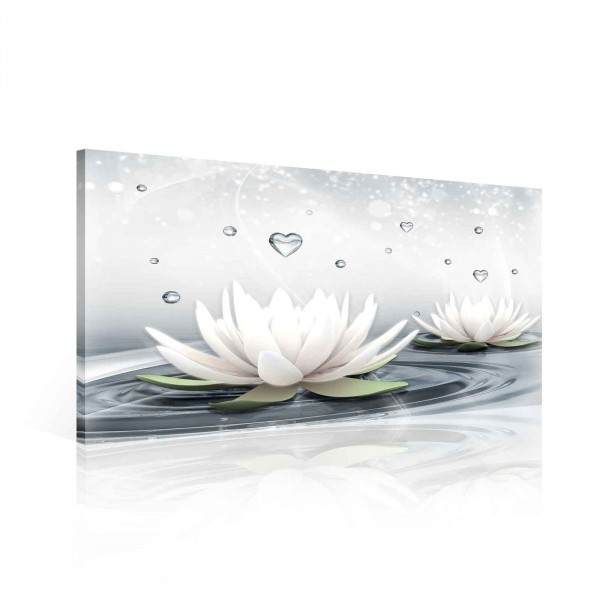 Flowers Lotus Water Drops Hearts White Canvas Print 60cm x 40cm