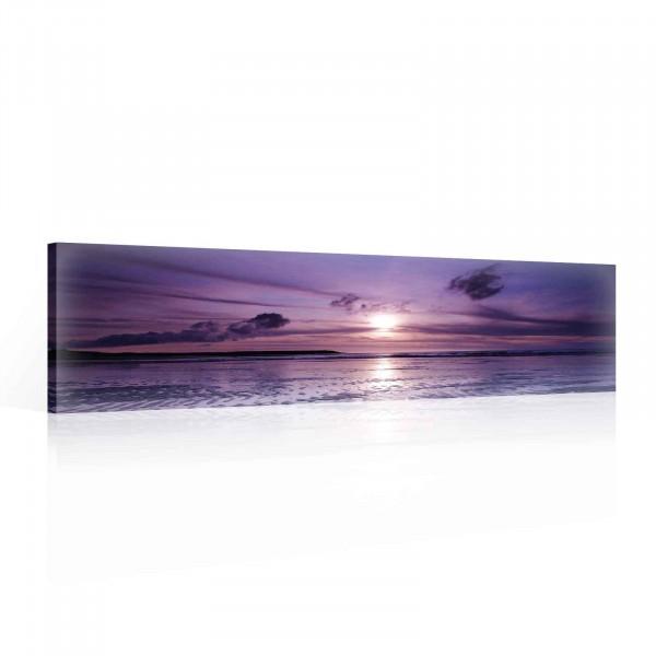 Beach Sand Sunset Nature Canvas Print 145cm x 45cm