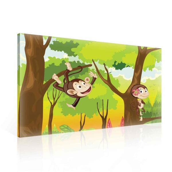 Jungle Monkeys Cartoon Canvas Print 100cm x 75cm