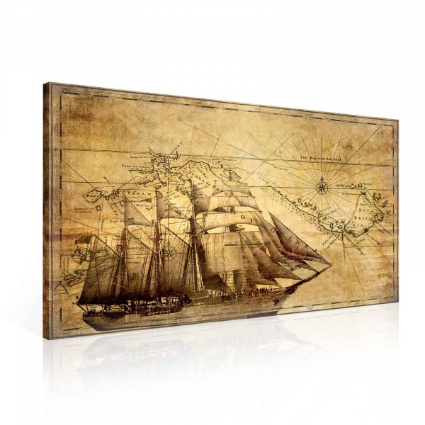Sepia Ship Old Map Vintage Canvas Print 100cm x 75cm