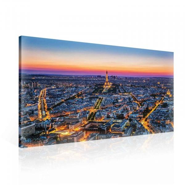 City Paris Eiffel Tower Sunset Canvas Print 100cm x 75cm