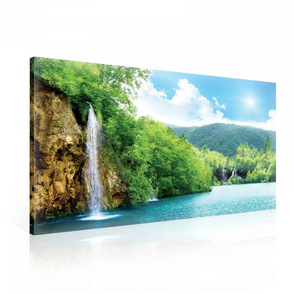 Forest Waterfalls Lake Canvas Print 100cm x 75cm