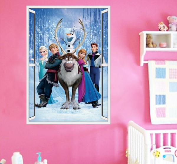 Frozen's Elsa & Crew Muursticker (Verticaal)