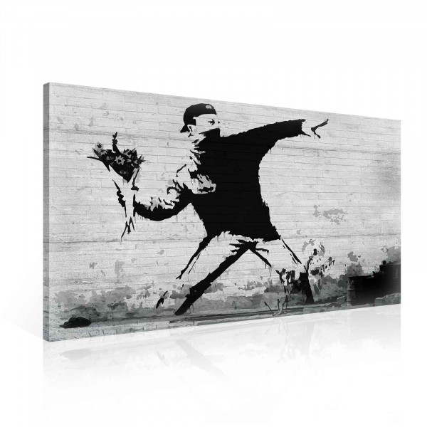 Banksy Rage Flower Thrower Canvas Print 100cm x 75cm