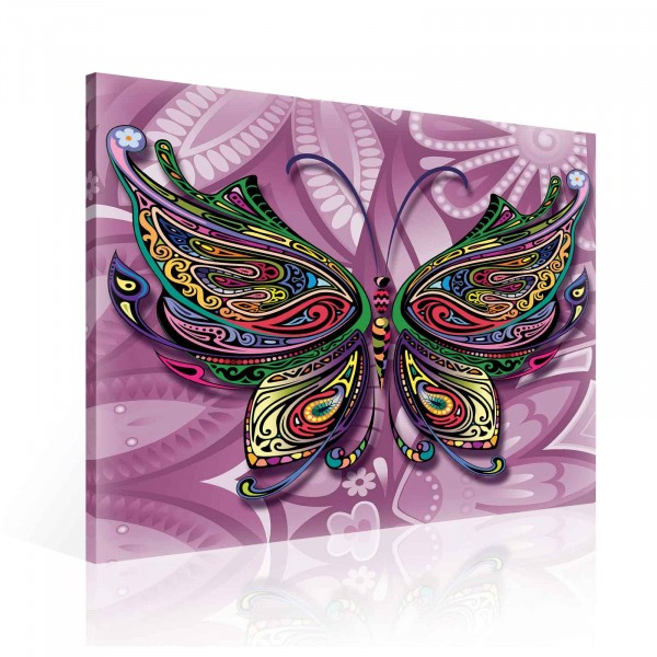 Colorful Abstract Butterfly Canvas Print 80cm x 80cm