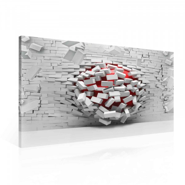 Breaking Brick Wall Red Canvas Print 100cm x 75cm
