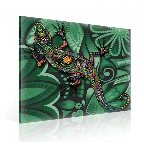 Colorful Abstract Lizard Canvas Print 80cm x 80cm