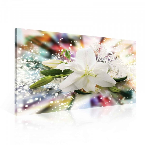 Flower Lily White Colors Canvas Print 100cm x 75cm