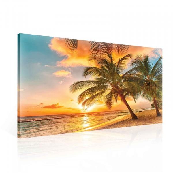 Beach Palms Trees Tropical Sunset Canvas Print 100cm x 75cm