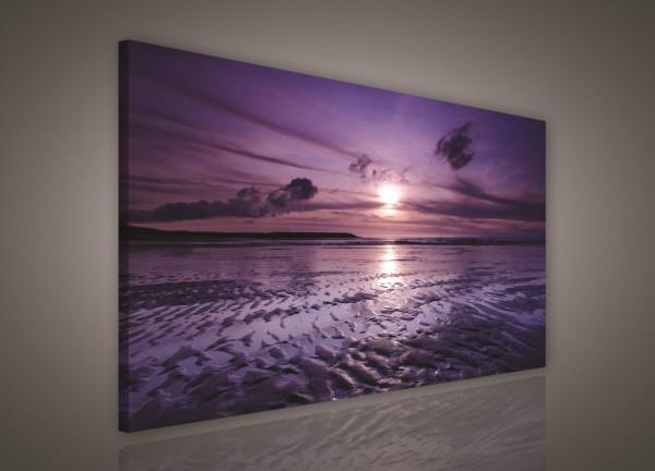 Beach Sand Sunset Nature Canvas Print 100cm x 75cm