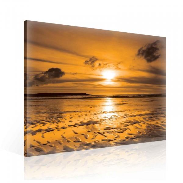 Beach Sand Sunset Nature Canvas Print 80cm x 80cm