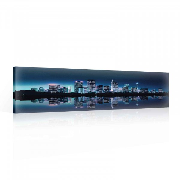 City Skyline Night Canvas Print 145cm x 45cm