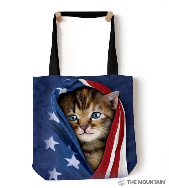 Tote Bag Patriotic Kitten