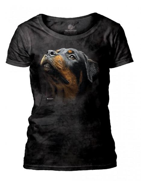 Angel Face Rottweiler Women's Scoop T-shirt