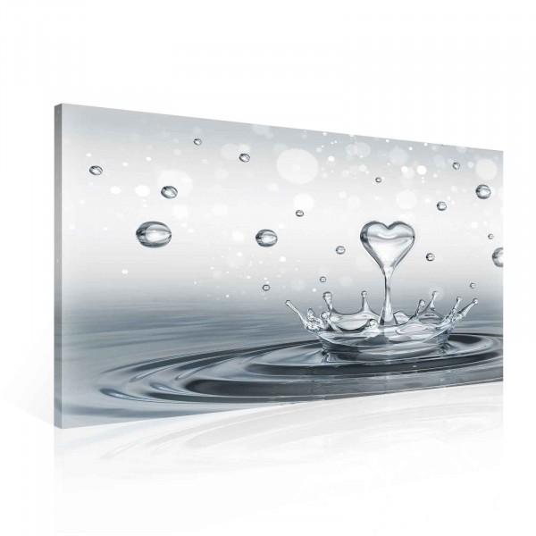 Drops Heart Water Canvas Print 100cm x 75cm
