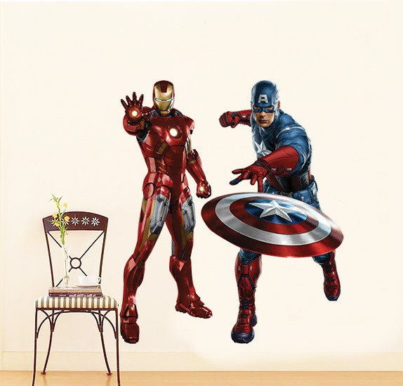 Marvel's Iron Man & Captain America Muursticker