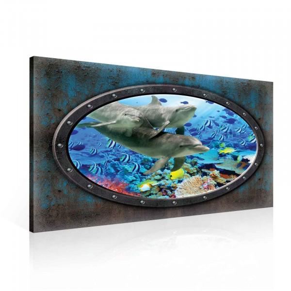 Window Dolphins Corals Ocean Underwater Canvas Print 100cm x 75cm