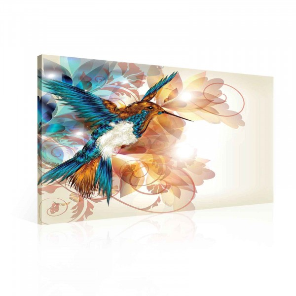 Bird Humming Bird Flowers Vintage Canvas Print 80cm x 60cm