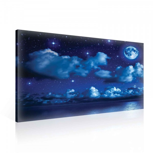 Night Sea Cloud Moon Canvas Print 100cm x 75cm
