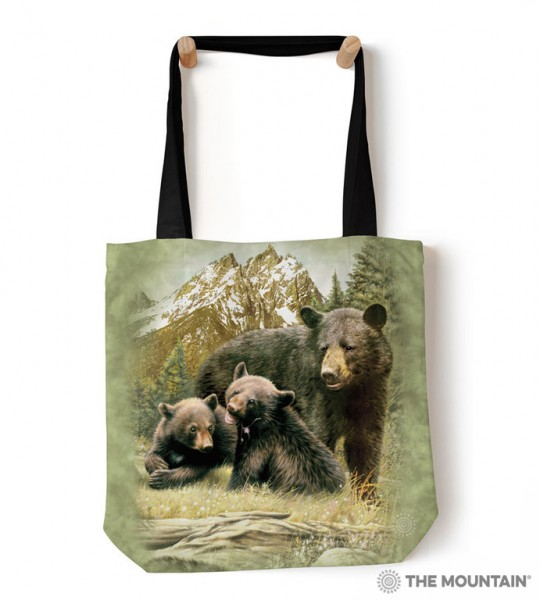 Tote Bag Black Bear Family