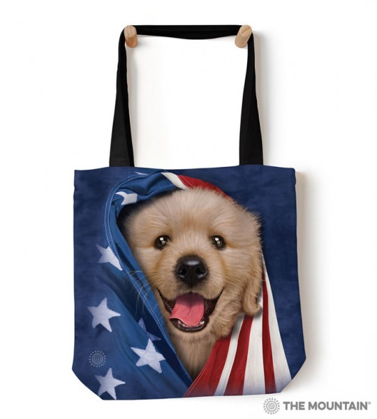 Tote Bag Patriotic Golden Pup