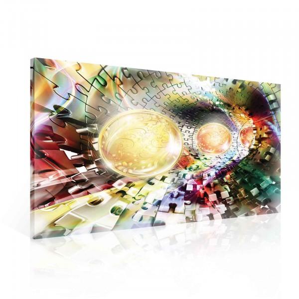 Puzzle Jigsaw Spheres Colors Canvas Print 100cm x 75cm