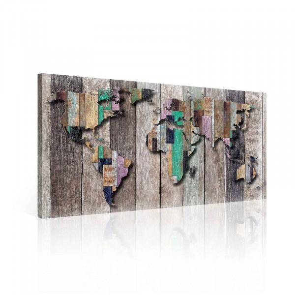 Map Wood Multicolour Canvas Print 60cm x 40cm