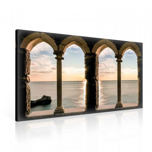 View Beach Sea Sunset Canvas Print 100cm x 75cm