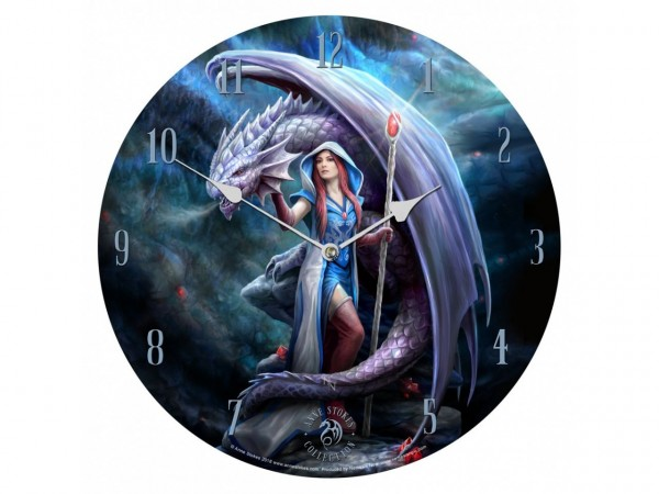 Anne Stokes Clock Dragon Mage 34cm