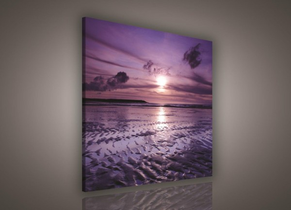 Beach Sand Sunset Nature Canvas Print 80cm x 80cm