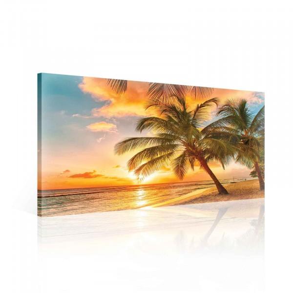 Beach Palms Trees Tropical Sunset Canvas Print 60cm x 40cm