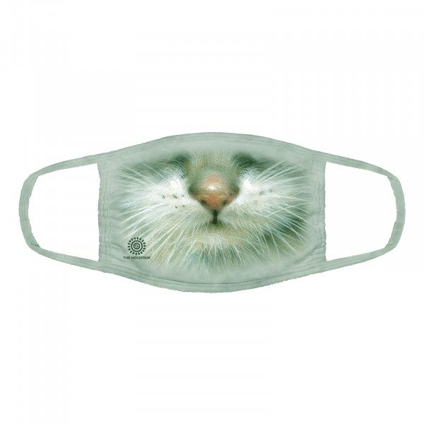 Green Eyed Kitten Face Mask