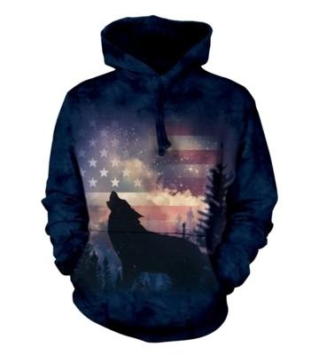 Patriotic Wolf Howl Hoodie