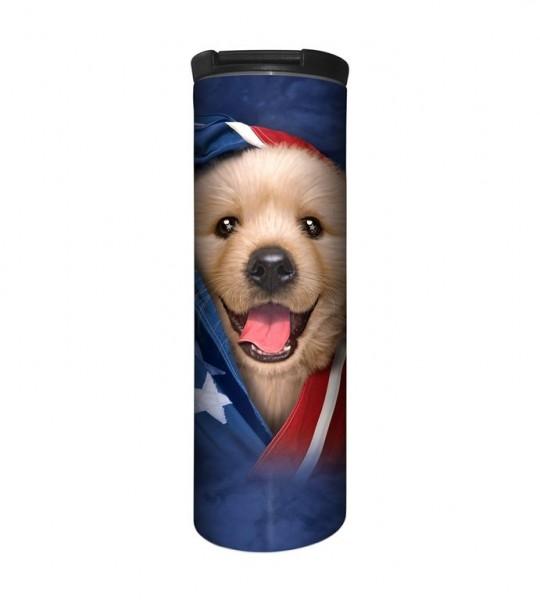 Patriotic Golden Puppy Tumbler