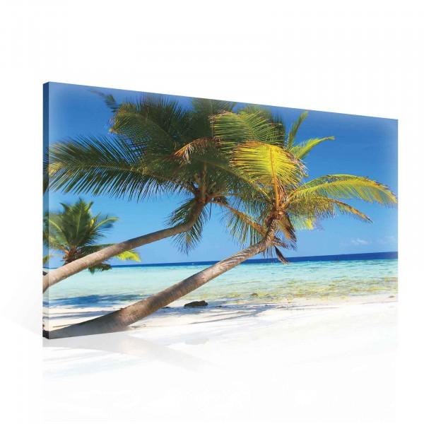 Beach Tropical Sea Palm Trees Sand Canvas Print 100cm x 75cm
