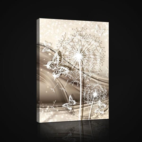 Butterfly Flowers Dandelion White Canvas Print 60cm x 40cm