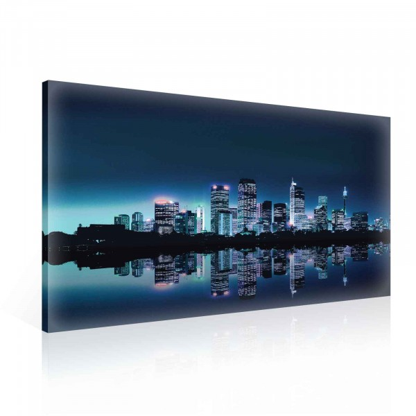 City Skyline Night Canvas Print 100cm x 75cm