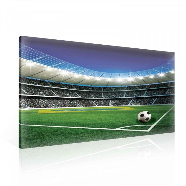 Fussball Feld Stadion Leinwandbild 100cm X 75cm