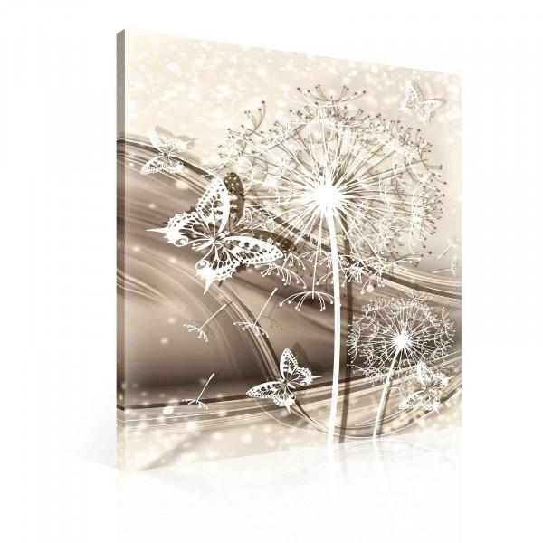 Butterfly Flowers Dandelion White Canvas Print 100cm x 75cm