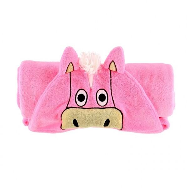 Pink Horse Critter Kids Blanket