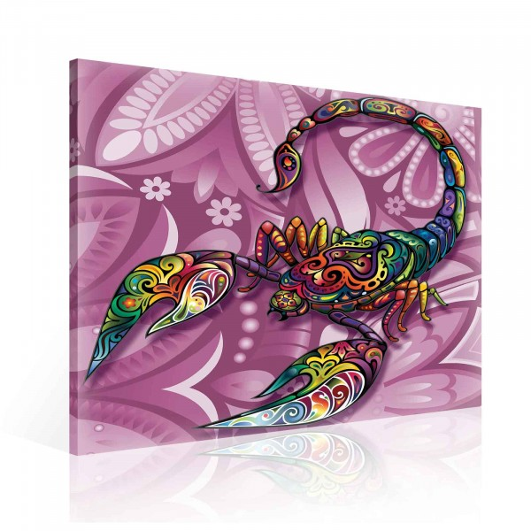 Colorful Abstract Scorpion Canvas Print 80cm x 80cm